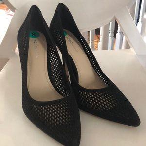 Black suede mesh heels